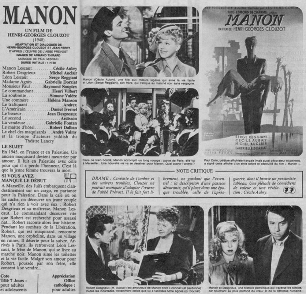 MANON – Henri-Georges Clouzot (1949) – Michel Auclair, Cécile Aubry