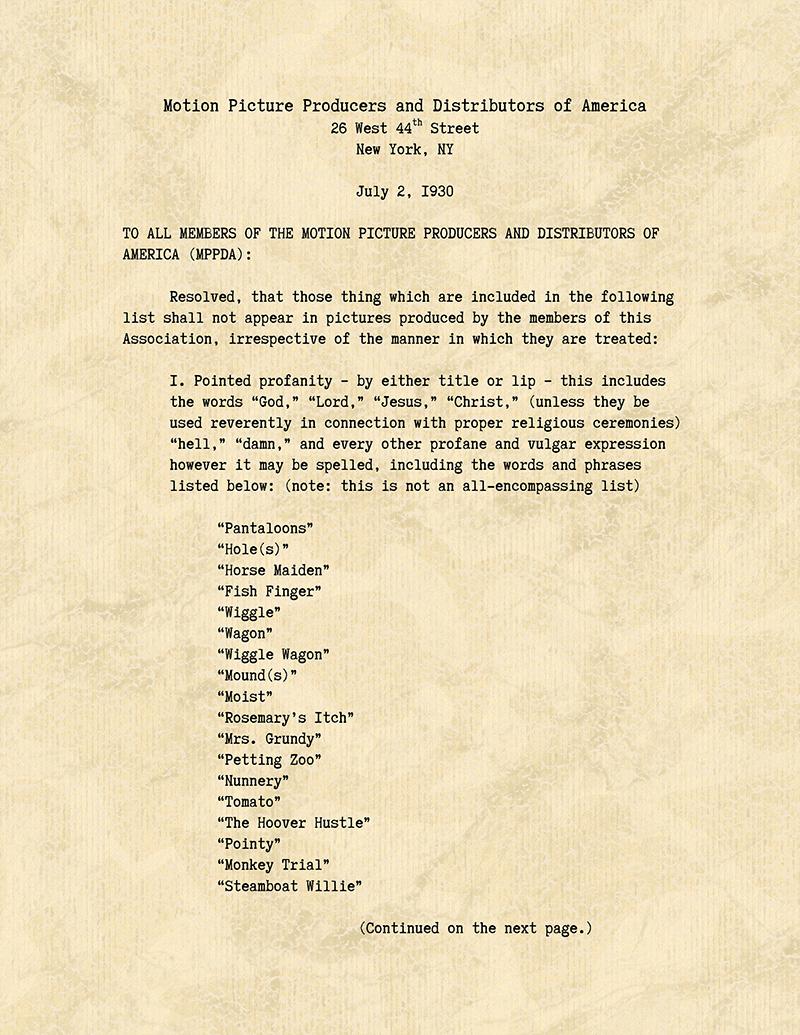 La première page du Code Hays