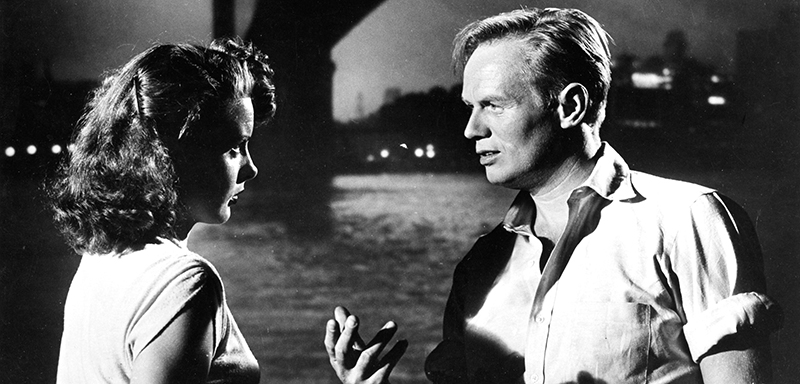 Richard Widmark and Jean Peters in Samuel Fuller's PICKUP ON SOUTH STREET (1953). Courtesy Film Forum via PhotoFest. Playing May 29-June 4.