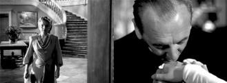 L'antre nazi: Hitchcock multiplie les plans subjectifs du point de vue d'Alicia afin de nous faire éprouver son inquiétude lors de sa première visite chez les Sebastian. Lorsque Mrs Sebastian descend les escaliers, la caméra adopte le point de vue d'Alicia. Le visage de la femme reste dans l'ombre jusqu'au dernier moment. L'apparition des « collègues» d'Alex n'est pas moins inquiétante. Hitchcock avait prévu d'insérer un contrechamp d'Alicia regardant un à un les invités ; il fut écarté au montage. Ainsi ininterrompu, le plan subjectif qui voit défiler les hommes d'Alexander se baissant l'un après l'autre pour baiser la main d'Alicia n'en est que plus fort. - (NOTORIOUS – Alfred Hitchcock, 1946)