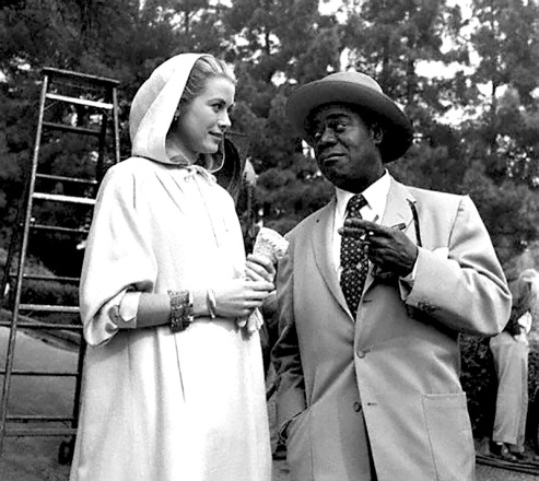 On set - HIGH SOCIETY - Charles Walters (1956) - Grace Kelly, Louis Armstrong