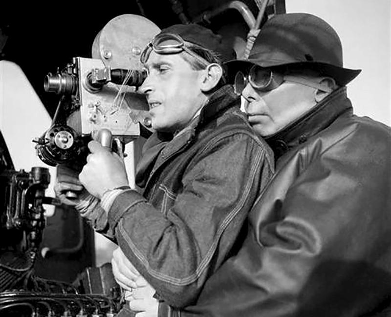 Curt Courant et Jean Renoir sur le tournage de La Bête humaine (1938)